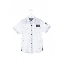 Бяла риза Losan, с къс ръкав с щампа, за момче