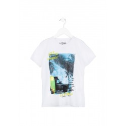 Бяла тениска Losan, с принт сърф, за момче